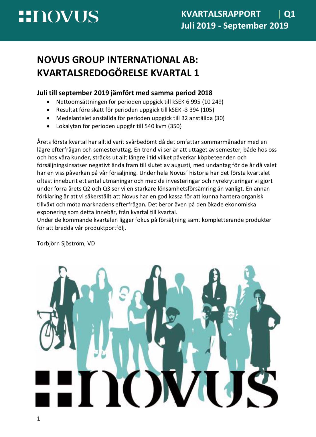 Novus Group International AB: KVARTALSRAPPORT   Q3   januari 2020-mars 2020